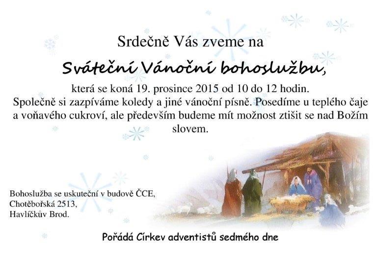 pozvánka vánoční pobožnost 2015